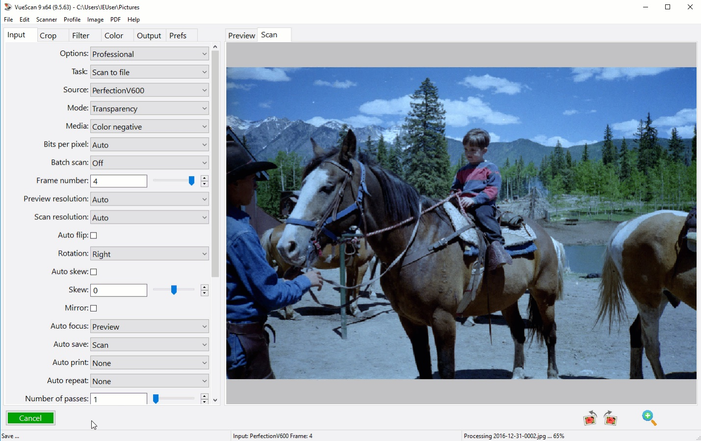 Visioneer scanner drivers - Film Scanning Software Screenshot